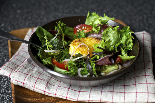 Warm, crisp and a little melty goat cheese salad crouton