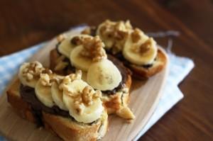 Tartine nutella, banane et maple